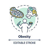 Obesity concept icon. Unhealthy eating habits. Overweight person. Calories from fast food. Overconsumption idea thin line illustration. Vector isolated outline RGB color drawing. Editable stroke