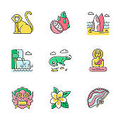 Indonesia color icons set. Tropical country animals. Trip to Indonesian islands. Exploring exotic culture. Unique fruits and plants. Nature wonders and waterfalls. Isolated vector illustrations