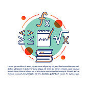Solving equation, formula article page vector template.Math, algebra. Brochure, magazine, booklet design element with linear icons and text boxes. Print design. Concept illustrations with text space