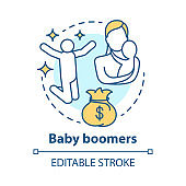 Baby boomers concept icon. Generation idea thin line illustration. Mature people. Motherhood. Material prosperity. Vector isolated outline drawing. Editable stroke