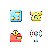 Mobile interface RGB color icons set