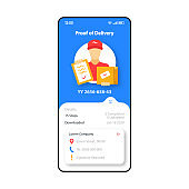 Proof of delivery smartphone interface vector template. Mobile app page blue and white design layout. Courier service screen. Flat UI for application. Parcel transportation. Phone display
