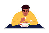 Indian man eating rice with hands semi flat RGB color vector illustration. Ethnic oriental cuisine. Young dark skin man enjoying traditional asian dish isolated cartoon character on white background