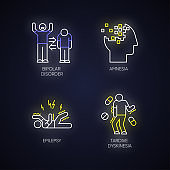 Mental disorder neon light icons set. Manic and depressive episodes. Bipolar disorder. Amnesia. Memory loss. Epileptic seizure. Tardive dyskinesia. Glowing signs. Vector isolated illustrations