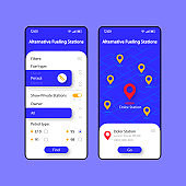Alternative fueling stations smartphone interface vector template set. Mobile app page blue and white design layout. Gas station map screen. Flat UI for application. Navigator. Phone display
