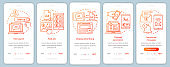 PPC channels orange onboarding mobile app page screen vector template. Media marketing, ad networks walkthrough website steps with linear illustrations. UX, UI, GUI smartphone interface concept