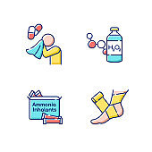 Emergency medication RGB color icons set