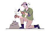 Man working with chisel and hammer flat vector illustration. Archeological excavations. Rock exploration. Male caucasian researcher breaking stone cartoon character with outline on white background
