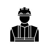 Worker in uniform black glyph icon. Construction builder in hardhat. Safety helmet on male repairman. Professional foreman and engineer. Silhouette symbol on white space. Vector isolated illustration