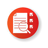 Job analysis red flat design long shadow glyph icon. Work assessment. Professional evaluation, corporate productivity examination. Document and magnifying glass silhouette RGB color illustration