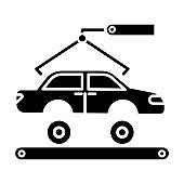 Automotive industry glyph icon. Car production. Vehicle factory. Automobile repair, fix services. Auto facility with crane and conveyor. Silhouette symbol. Negative space. Vector isolated illustration