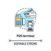 POS terminal concept icon. Terminal idea thin line illustration. Electronic device. Financial transaction. Payment machine. Point of sale, purchase. Vector isolated outline drawing. Editable stroke
