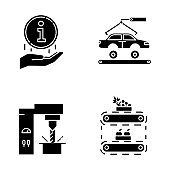 Industry types glyph icons set. Automotive engineering. Information sign. Steel industry. Fruit production. Car, automobile repair. Food supply. Silhouette symbols. Vector isolated illustration