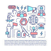 Social problems article page vector template. Drug abuse, unemployment issues. Brochure, magazine, booklet design element with linear icons. Print design. Concept illustrations with text space