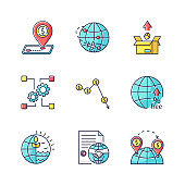 Global trade, export and investments RGB color icons set. Taxes and non-tariff barriers, international agreements and goods delivery. Isolated vector illustrations
