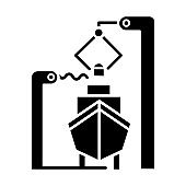 Shipbuilding industry glyph icon. Boat mechanical maintenance. Ship fixing and repairing. Nautical vehicle technical construction. Silhouette symbol. Negative space. Vector isolated illustration