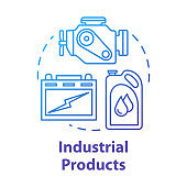Industrial products concept icon. Production and maintenance of machinery. Maintenance workshop. Manufactured goods idea thin line illustration. Vector isolated outline drawing