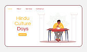 Hindu culture days landing page vector template. Gastronomic tourism website interface idea with flat illustrations. Indian national cuisine restaurant homepage layout. Cartoon web banner, webpage