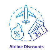 Airline discounts concept icon. Affordable travel, budget tourism idea thin line illustration. Airway company special offer, last minute tickets. Vector isolated outline RGB color drawing