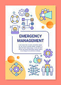 Emergency management poster template layout. Rescue service. Emergent help. Banner, booklet, leaflet print design, linear icons. Vector brochure page layouts for magazines, advertising flyers