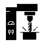 Steel industry glyph icon. Metal and iron production technology. Metallurgy. Professional machinery. Engineering business. Stock, tube. Silhouette symbol. Negative space. Vector isolated illustration