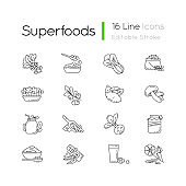 Superfoods variety pixel perfect linear icons set