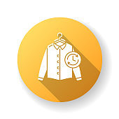 Express laundry yellow flat design long shadow glyph icon. Clothes quick washing, dry cleaning and delivery service. Fast launderette, professional garment cleaning. Silhouette RGB color illustration