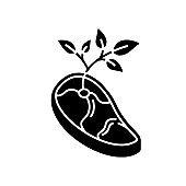 Vegan meat black glyph icon
