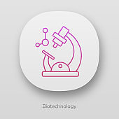 Biotechnology app icon. Biotech. Molecular biology. Microscope and molecule. Laboratory research. Biochemistry. UI/UX user interface. Web or mobile applications. Vector isolated illustrations