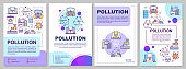 Pollution brochure template. Environmental damage. Flyer, booklet, leaflet print, cover design with linear illustrations. Vector page layouts for magazines, annual reports, advertising posters