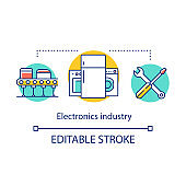 Electronics industry concept icon. Electrical engineering sector. Appliances producing, repair and maintenance idea thin line illustration. Vector isolated outline drawing. Editable stroke