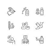 First aid linear icons set