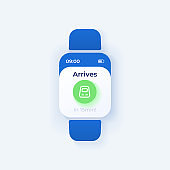 Trip reminder smartwatch interface vector template. Railroad transportation mobile app notification day mode design. Train arrival message screen. Flat UI for application. Smart watch display