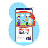 Playing roles smartphone app screen. Mobile phone display with cartoon characters design mockup. Development of acting skills. Theatre application for children telephone interface