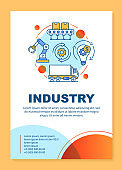 Industry brochure template layout. Production process. Flyer, booklet, leaflet print design with linear illustrations. Vector page layouts for magazines, annual reports, advertising posters