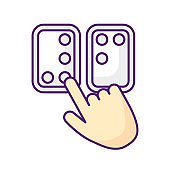 Braille directions RGB color icon
