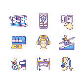 Facilities for people with disabilities RGB color icons set