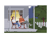 Couple sit in armchairs during night semi flat vector illustration