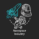 Aerospace industry chalk concept icon. Space exploration. Spacecraft, cosmonaut, observatory. Cosmos exploring. Astronautics idea. Vector isolated chalkboard illustration