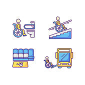 Wheelchair users facilities RGB color icons set
