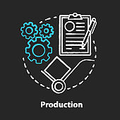 Production chalk concept icon. Manufacturing process idea. Industrial sector. Factory and engineering. Product fabrication and construction. Primary industry. Vector isolated chalkboard illustration