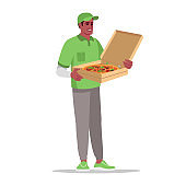 Pizzeria delivery semi flat RGB color vector illustration