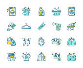 Laundry types and equipment blue and yellow RGB color icons set. Laundromat, wet and dry cleaning, express laundry. Washing and ironing household appliances. Isolated vector illustrations