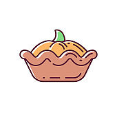 Pumpkin pie RGB color icon