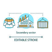 Secondary sector concept icon. Processing and manufacturing industry idea thin line illustration. Industrial sector. Heavy and light industry. Vector isolated outline drawing. Editable stroke