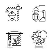 Industry types linear icons set. Construction, arms, music, entertainment economy sectors. Businesses activities. Thin line contour symbols. Isolated vector outline illustrations. Editable stroke