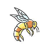 Bee RGB color icon