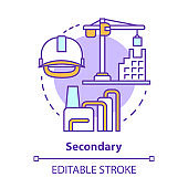 Secondary concept icon. Processing and manufacturing industry idea thin line illustration. Economy sector. Heavy and light industry. Vector isolated outline drawing. Editable stroke
