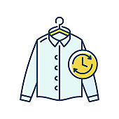 Express laundry blue and yellow RGB color icon. Clothes quick washing, dry cleaning and delivery service. Fast launderette, professional garment cleaning. Isolated vector illustration