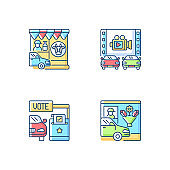 Drive in services RGB color icons set
